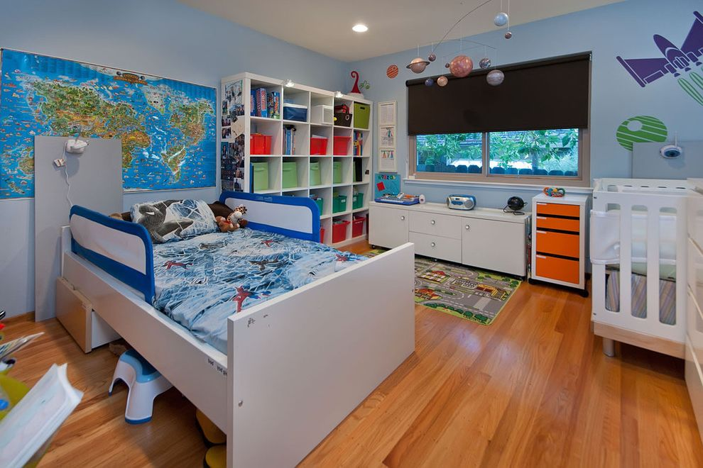 Bookcase for Kids Room   Contemporary Nursery Also Area Rug Boys Room Crib Cubbies Fabric Boxes Kids Room Light Blue Nursery Planet Mobile Play Mat Roller Blind Roman Shade Storage Wall Decals Wall Map Wood Floor