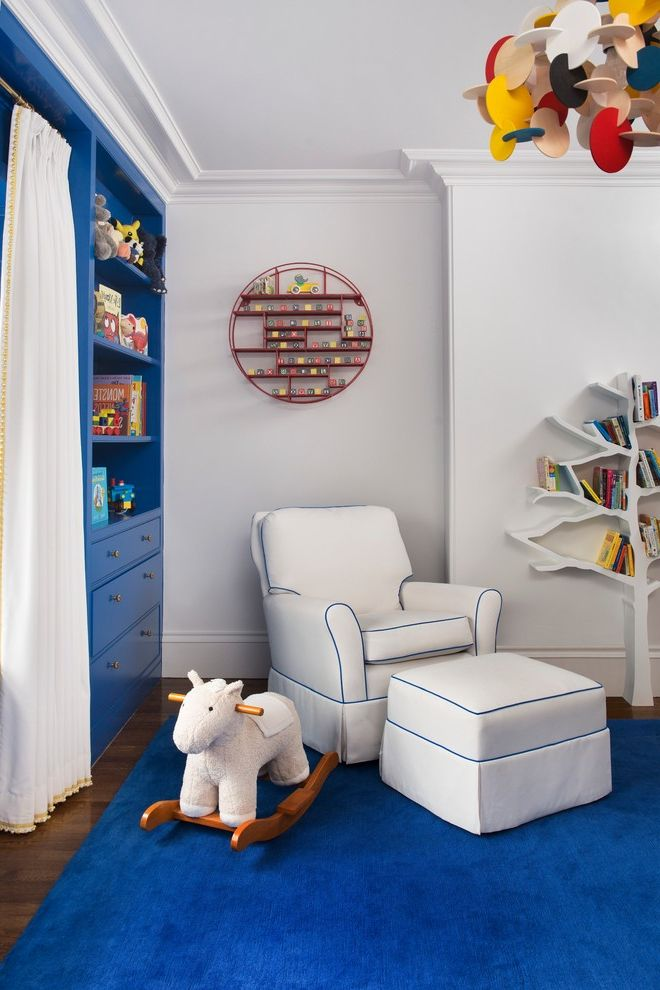Bookcase for Kids Room   Eclectic Nursery Also Armchair Blue Built in Ottoman Pendant Rug Storage Toys Tree Bookcase