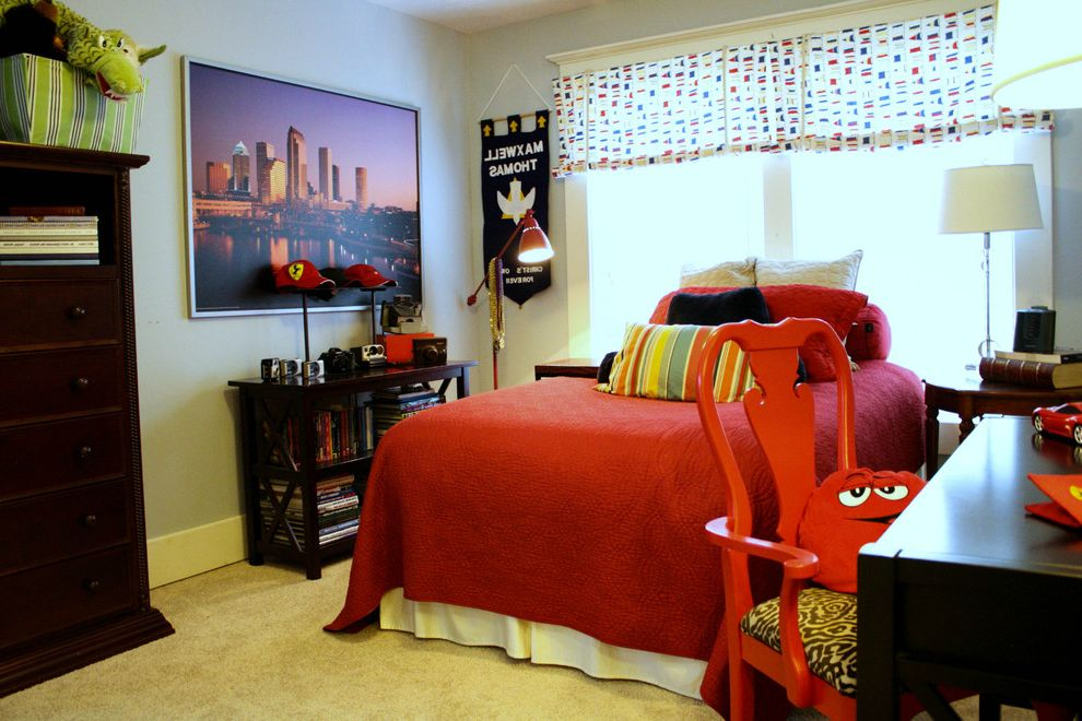Bookcase for Kids Room   Transitional Kids  and Bookcase Kids Room Matelass My Houzz Nautical Curtains Red Bedding Skyline Teen Boys Rooms Teen Room Teenage Boys Rooms Window Treatment