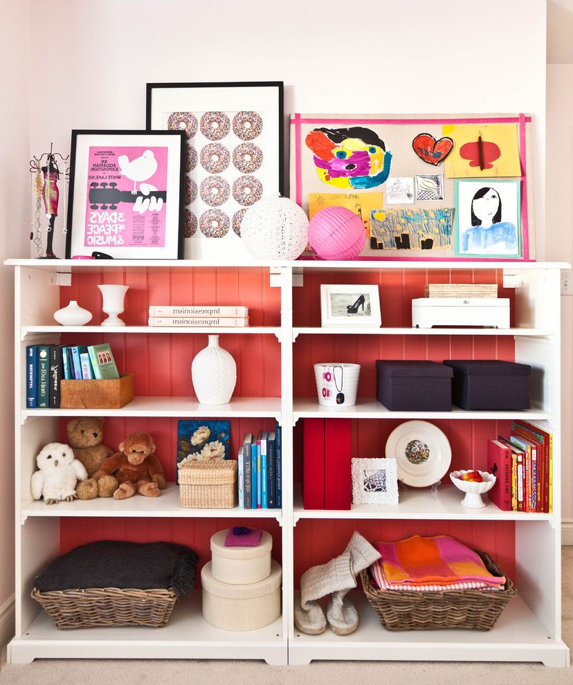 Bookcase for Kids Room with Contemporary Kids  and Artwork Baskets Bookcase Books Fun Painted Shelves Red Tongue and Groove Toys White