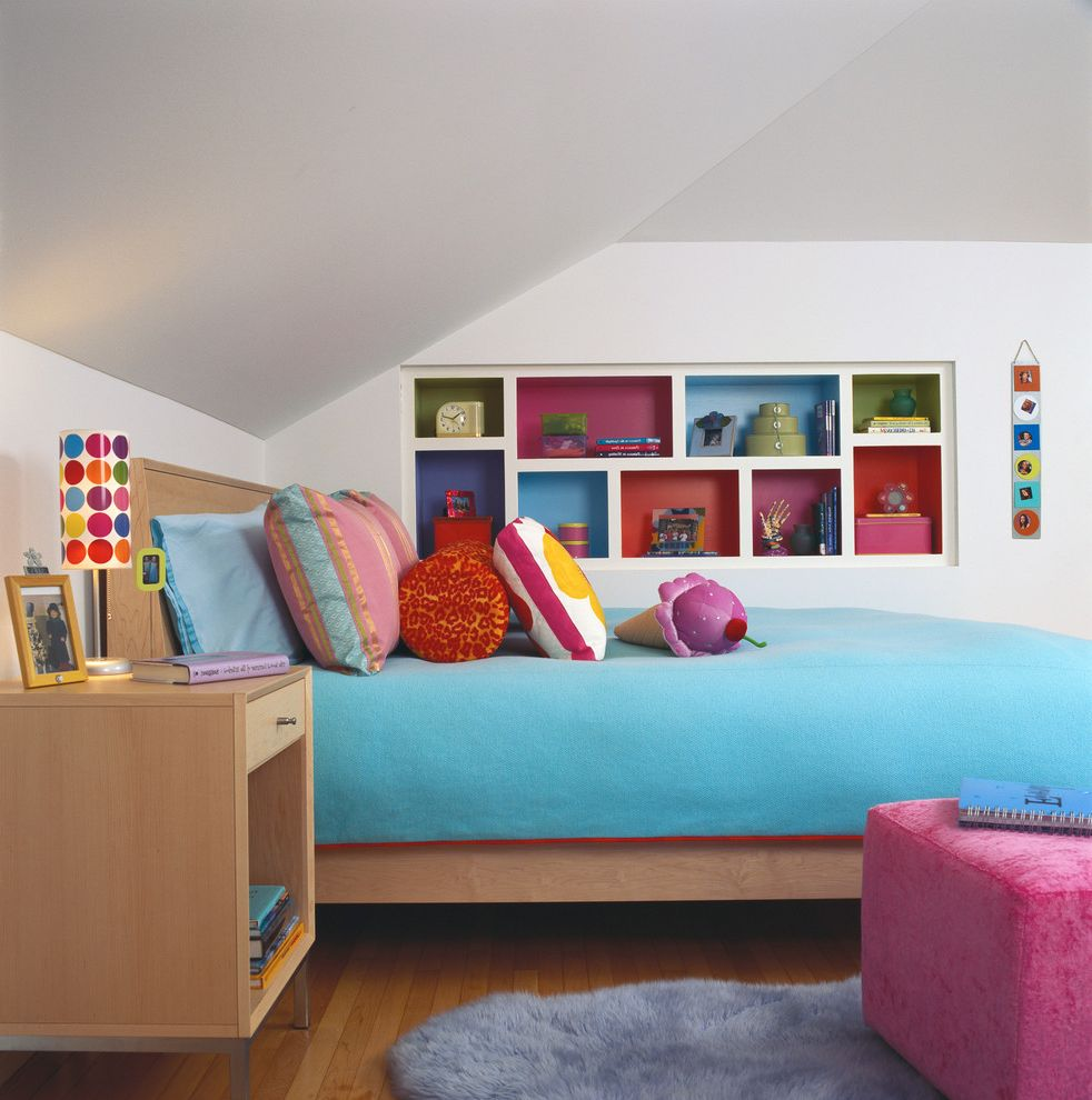 Bookcase for Kids Room with Contemporary Kids  and Blue and Pink Built in Bookshelves Colorful Colorful Decor Pink Ottoman Pops of Color Teen Room