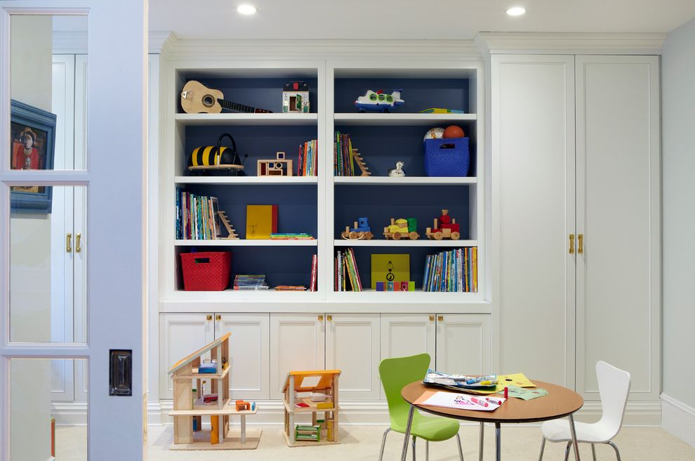 Bookcase for Kids Room with Contemporary Kids  and Blue Shelf Back Built in Bookshelves Built in Cabinets Chango Co Dollhouse Professional Photography Recessed Lighting Toy Storage