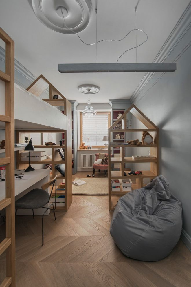 Bookcase for Kids Room with Scandinavian Kids  and Bean Bag Chair Built in Bookcases Desk Under Bed Grey and White Room Kids Play Room Large Bedroom Loft Bed Open Bookcases Play Space Room Divider Shelf in Bed Study Space Teenager Room