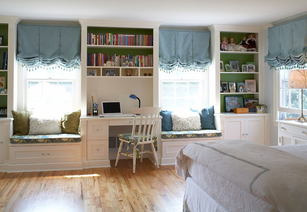 Bookcase for Kids Room with Traditional Kids Also Blue and Green Blue Roman Shades Blue Walls Built in Bookshelves Green Accent Light Wood Floor Swagged Roman Shades White and Blue Window Seats