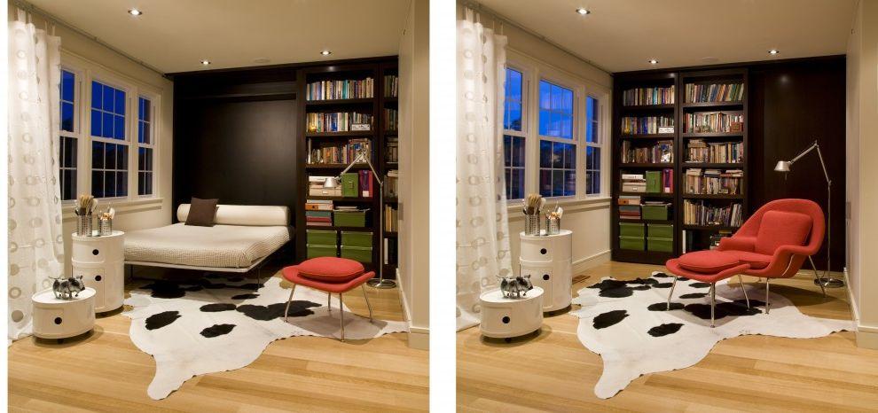 Bookshelf Murphy Bed   Modern Bedroom  and Contemporary Contemporary Architecture Contemporary Interiors Custom Millwork European Hidden Bed Modern Murphy Bed