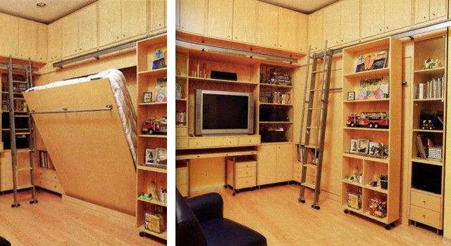 Bookshelf Murphy Bed   Modern Family Room  and Bed Cabinet Cupboard Recessed Lighting Shelves Television Toys Wood Floor