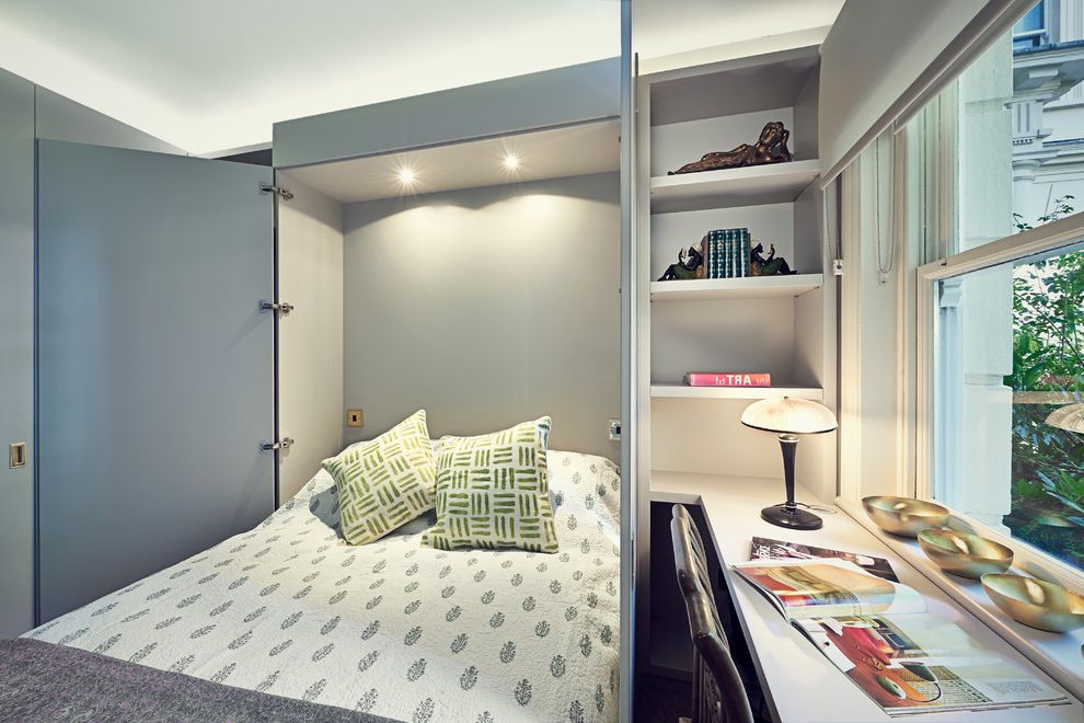 Bookshelf Murphy Bed   Transitional Bedroom Also 7 Year Old Boys Bedroom Bedding Built in Desk Built in Shelves Concealed Bed Hidden Bed Murphy Bed Recessed Lighting Space Saving Ideas for Small Bedrooms Table Lamp Wall Bed Window