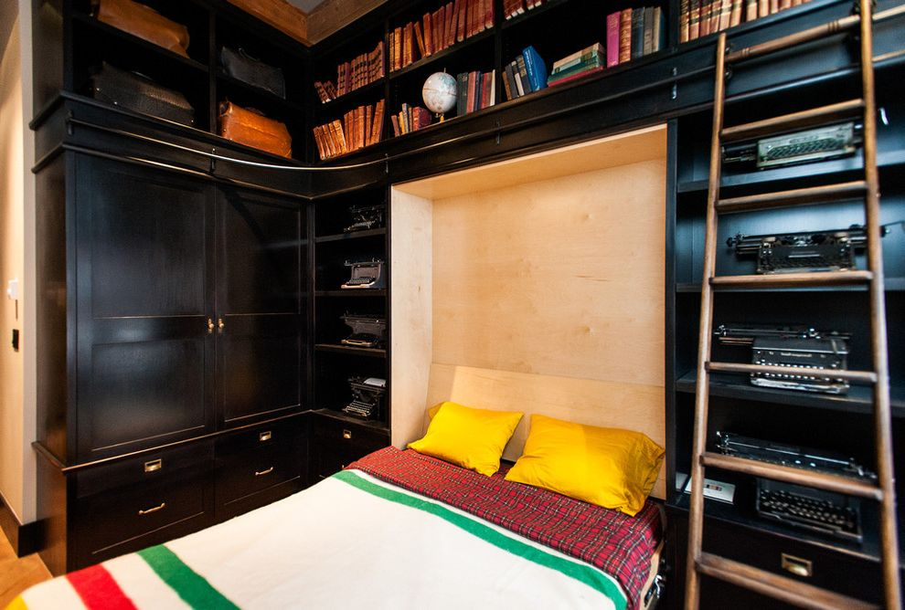 Bookshelf Murphy Bed with Eclectic Bedroom Also Books Built Ins Built in Bookcase Dark Wood Hbc Hudson Bay Company Ladder Murphy Bed Plaid Sheets Shelves Typewriter Vintage Wood Ladder Yellow Pillows