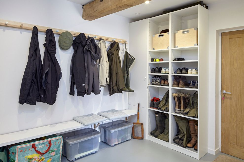 Boot Ranch Golf   Contemporary Laundry Room Also Boot Rack Boots Boxes Coat Rack Flooring Pegs Storage