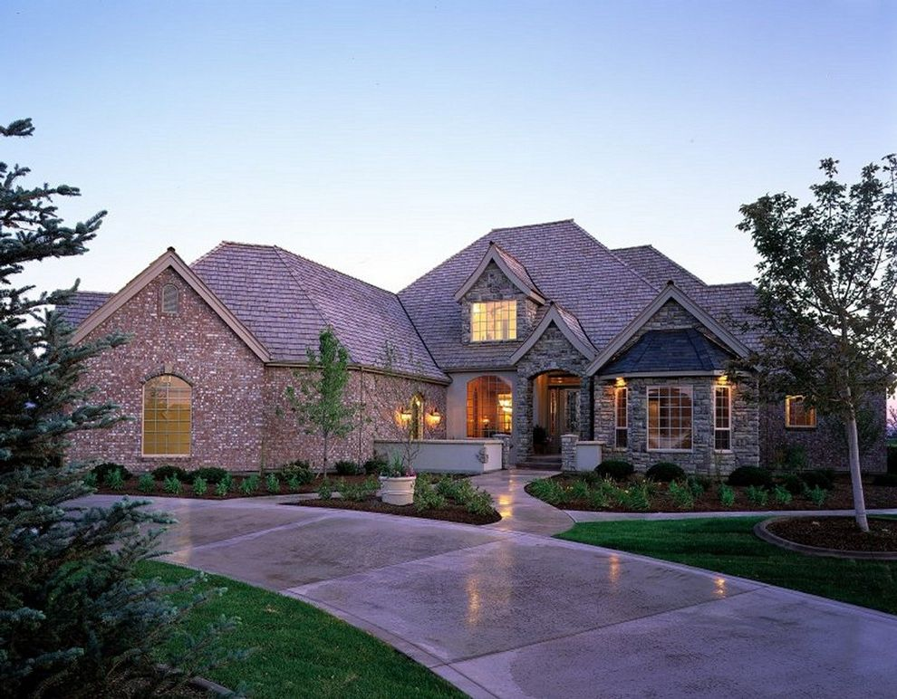 Boot Ranch Golf   Traditional Exterior  and Arched Window Brick Brick Siding Country Court Yard Elevation Exterior French Golf Course Hip Roof Pagoda Stone Stone Siding Traditional