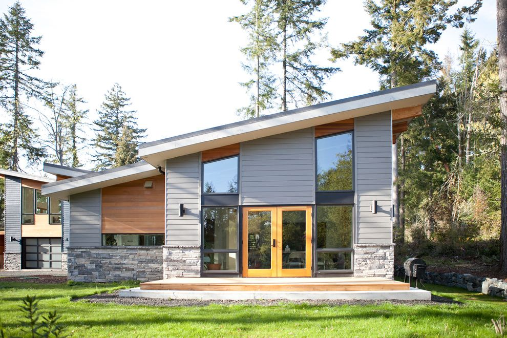 Boral Siding   Contemporary Exterior Also Glass Door Grass Gray Exterior Gray Siding Lawn Mixed Materials Mixed Siding Oversized Window Picture Window Stone Exterior Stone Siding Vertical Windows Wood Deck