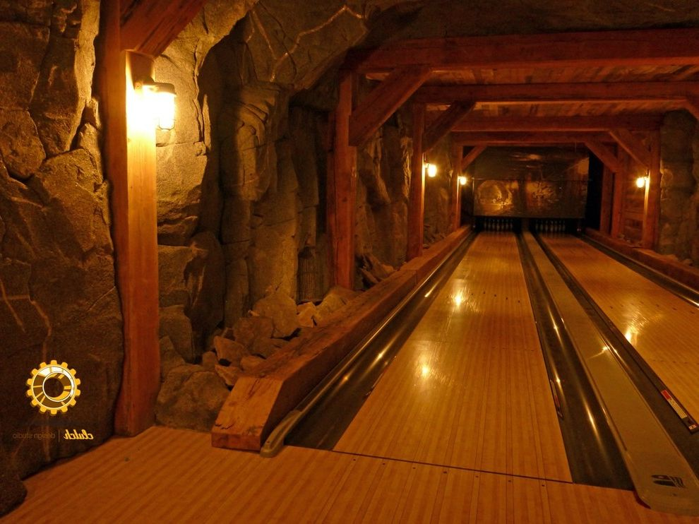 Bowling Alley Nyc   Eclectic Basement Also Alley Bar Basement Beams Bowling Entertaining Fun Game Room Games Hallway Media Old Wood Reclaimed