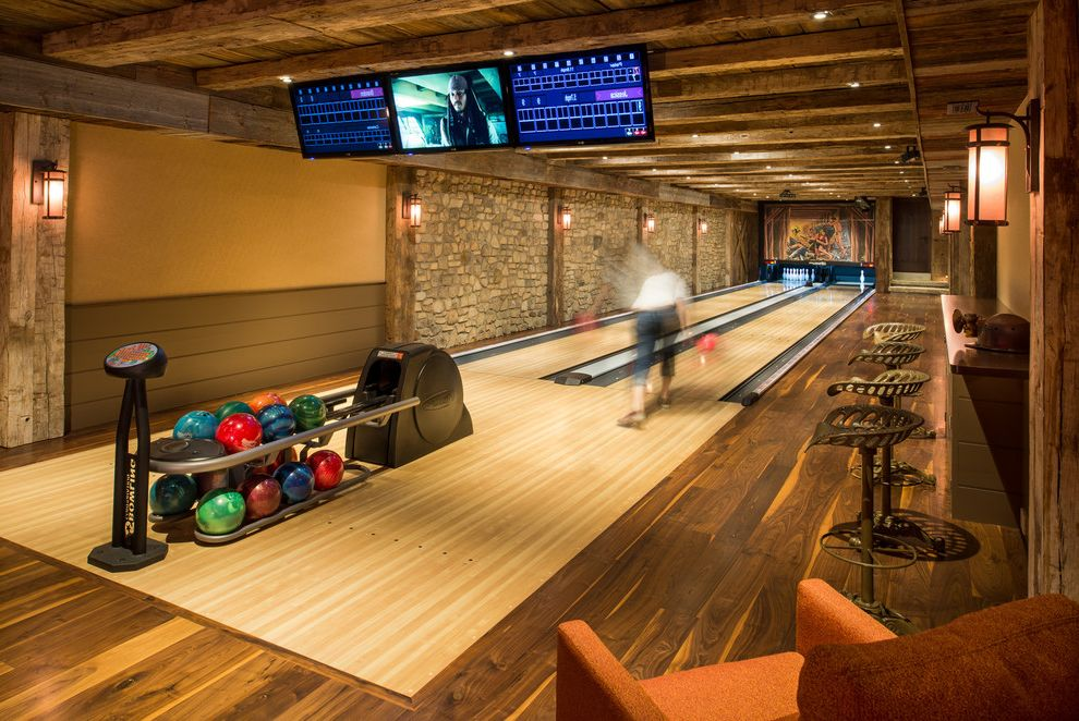 Bowling Alley Nyc   Rustic Home Theater  and Bowling Alley Home Entertainment Lanterns Rustic Timbers Wood Floors