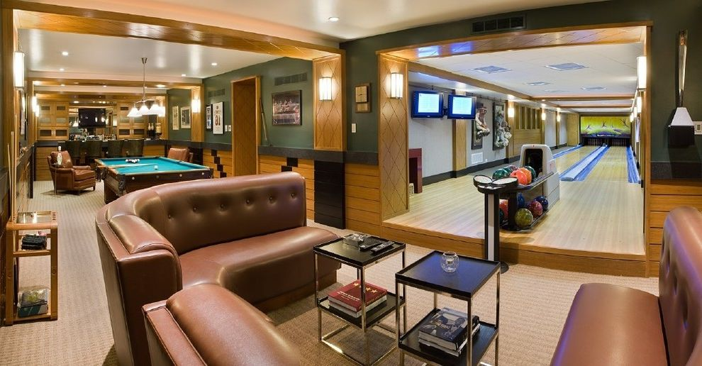Bowling Alley Nyc with Contemporary Basement Also Banquette Basement Bowling Alley Curved Sofa Game Room Game Table Leather Chair Leather Sofa Playroom Pool Table Rec Room Sculpture Wall Sconce Wall Mounted Tv Wood Trim