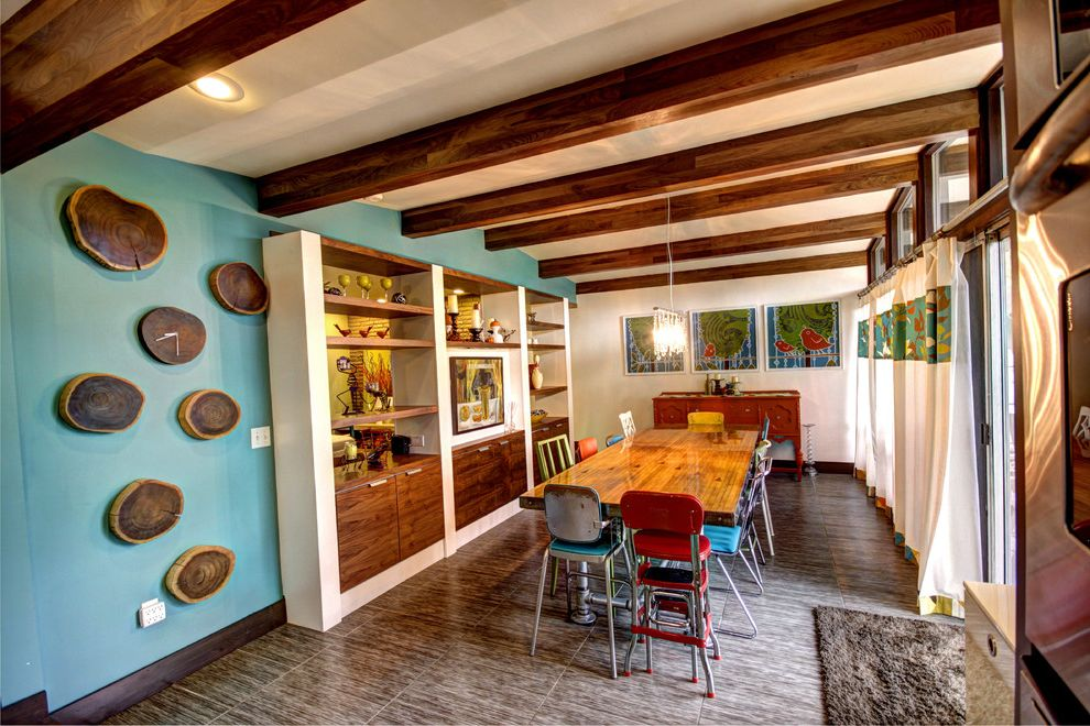 Bowling Alley Nyc with Midcentury Dining Room Also Bowling Alley Lane Built in Media Cabinet Colorful Curtain Panels Dark Stained Wood Beams Dining Room Glulam Light Blue Mid Century Modern Modern Tile Floor Tree Rings Wood Rounds