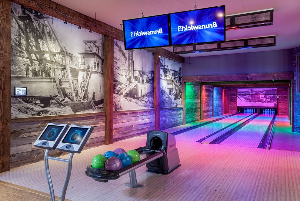 Bowling Alley Nyc with Rustic Basement  and Black and White Photo Bowling Alley Bowling Lanes Hanging Tv Mountain Contemporary Mountain Home Two Lanes Wall Mural
