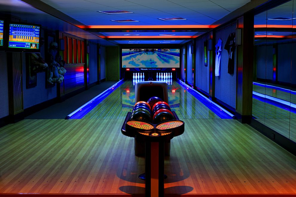 Bowling Alley Nyc with Traditional Home Theater Also Bowling Bowling Alley Bowling Balls Custom Bowling Alley Custom Home Entertainment Area Hardwood Floors Home Entertainment Lighting Mounted Television
