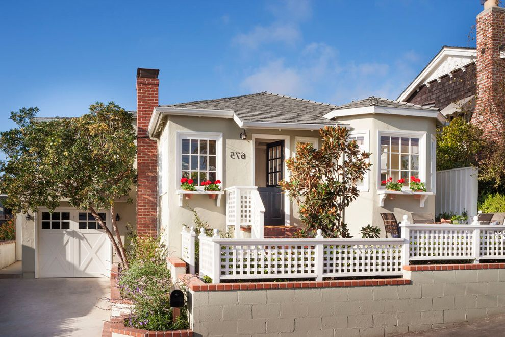 Boxing Gym Orange County with Beach Style Exterior  and Bay Window Hip Roof Lattice Window Boxes