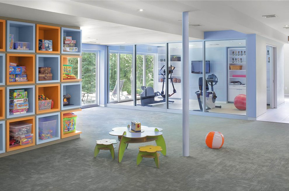 Boxing Gym Orange County with Contemporary Kids  and Accent Wall Built in Cubbies Gym Lavender Orange Playroom Shelves Shelving Storage Toy Storage Workout Room