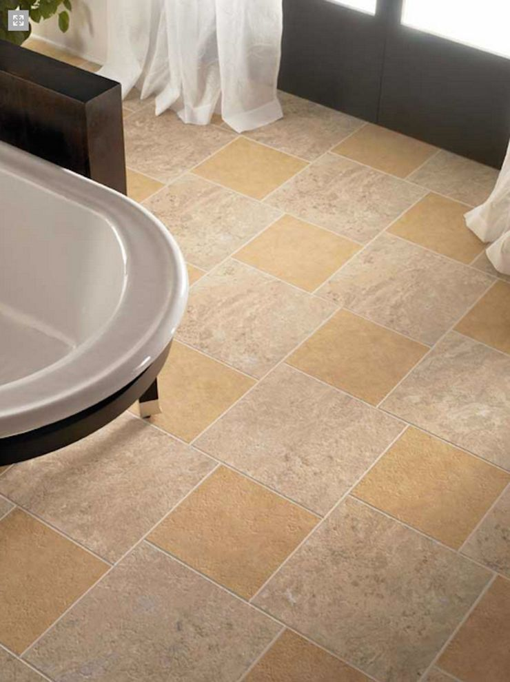 Boyles Flooring with  Spaces Also Bathroom Floor Bathroom Tiles Free Floating Bath Tub Multicolored Tile White Drapes