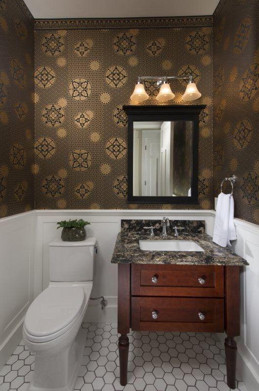 Bradbury and Bradbury Wallpaper   Asian Bathroom Also Asian Bradbury Wallpaper Japanese Powder Room Small Spaces