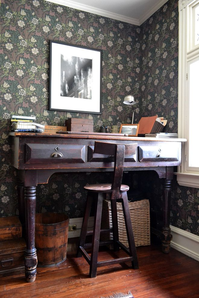 Bradbury and Bradbury Wallpaper   Rustic Home Office Also Antique Desk Dark Wood Dark Wood Desk Desk Green Wallpaper Reading Light Rustic Rustic Wood Floor Stool Wallpaper Wood Floor
