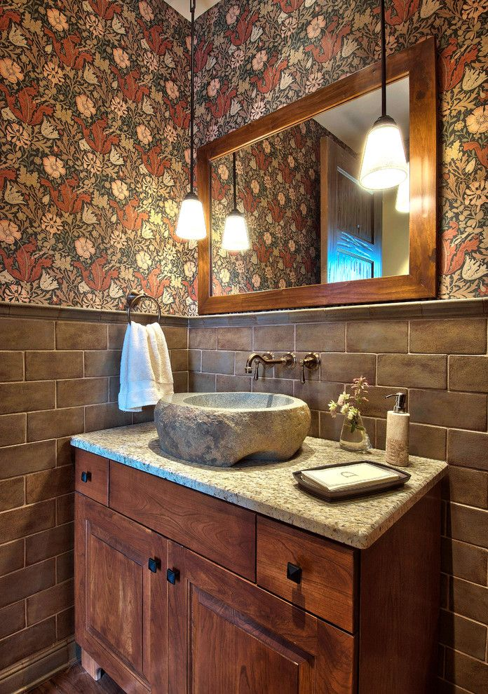 Bradbury and Bradbury Wallpaper   Traditional Powder Room Also Bathroom Mirror Floral Wallpaper Freestanding Vanity Pendant Lighting Stone Sink Subway Tile Towel Ring Vessel Sink Wainscoting Wall Mount Faucet Wood Cabinets