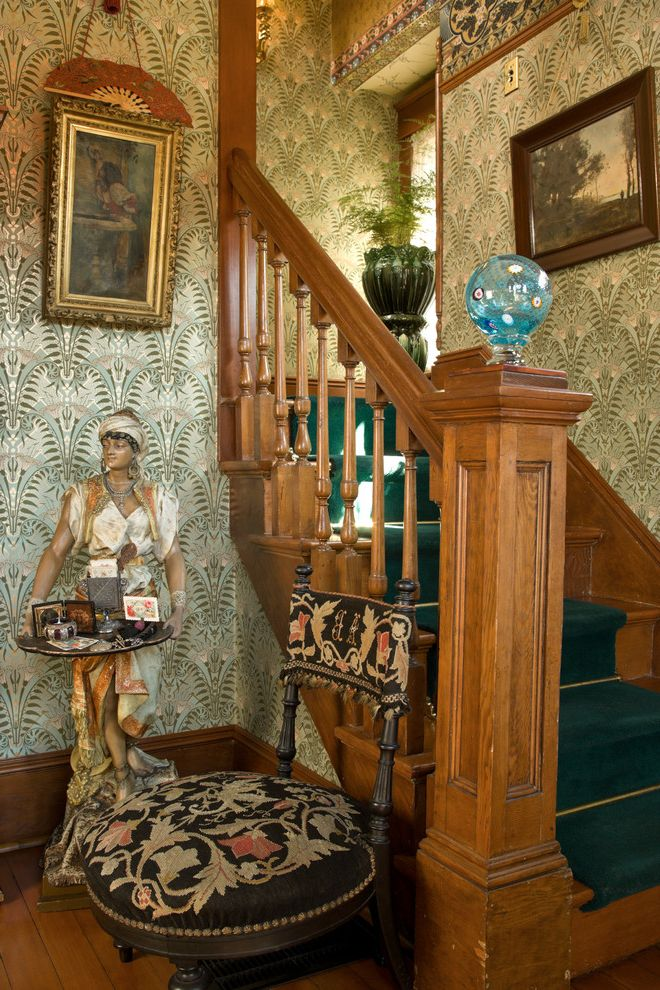 Bradbury and Bradbury Wallpaper   Traditional Staircase  and Bradburywallpaper Bradbury Wallpaper Christopher Dresser Gilded Handprinted Victorian