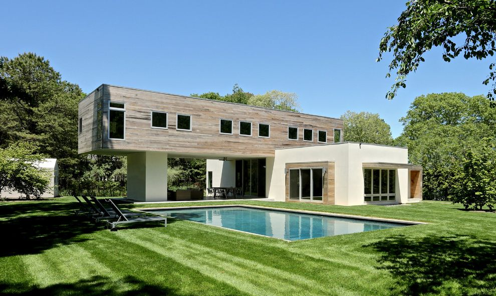 Braintree Building Department   Contemporary Exterior  and Boxy Cantilevered Lawn Pool Rectangular Solar Wood and Stucco