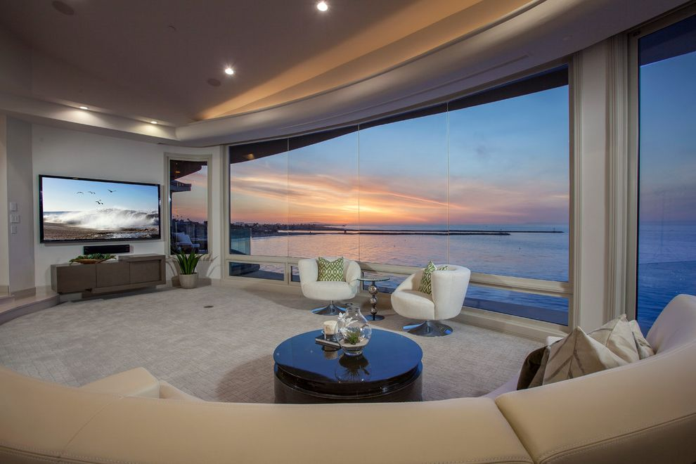living room with ocean view wall