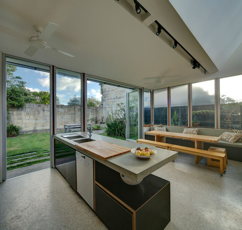 Bretts Bbq   Contemporary Kitchen Also Alterations and Additions Indoor Outdoor Old and New Plywood Sandstone
