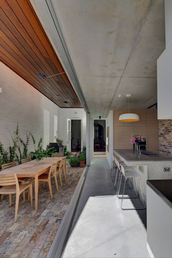 Bretts Bbq with Contemporary Kitchen  and Addition to Inner City Terrace Indoor Outdoor Living White Pendant Light