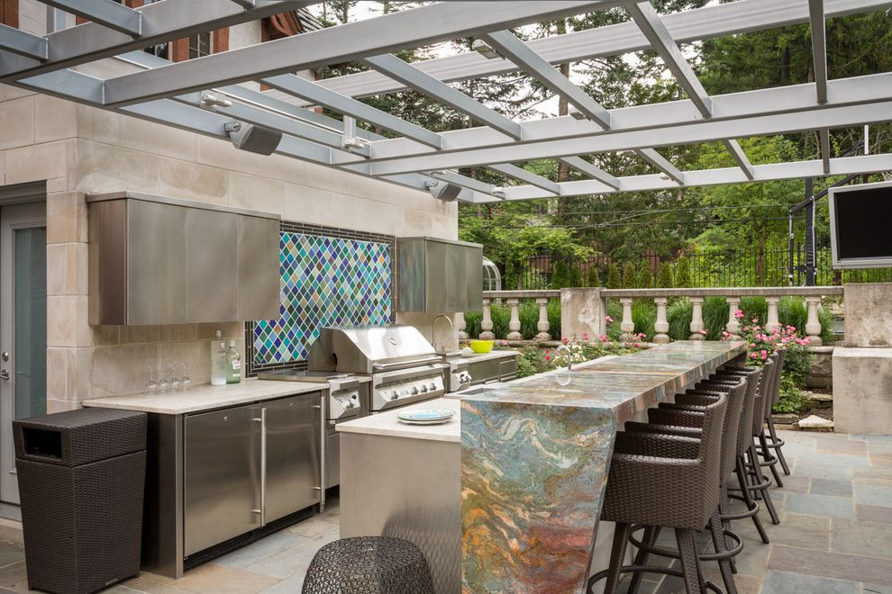 Bretts Bbq with Contemporary Patio Also Colorful Countertop Mosaic Tile Backsplash Stainless Steel Cabinets White Countertop Wicker Bar Stools