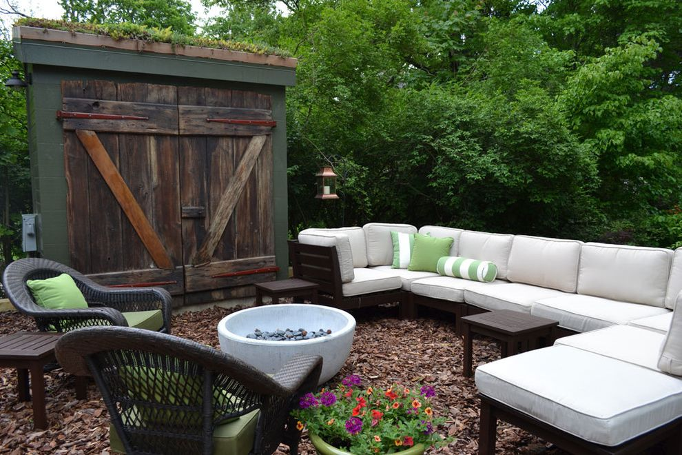 Bretts Bbq with Eclectic Patio  and Barn Doors Bolster Pillow Fire Pit Garden Shed Green Roof Outdoor Living Room Outdoor Sectional Sofa Patio Reclaimed Doors Wicker Chair