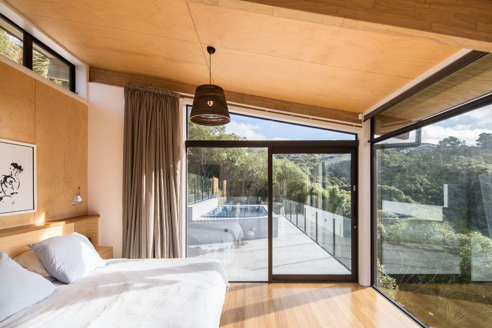 Briarcliff Spa   Contemporary Bedroom  and Architecture Cultural Heritage Design Environmental Native Bush Pendant Light Slope Spa Sri Lankan Timber View Wellington