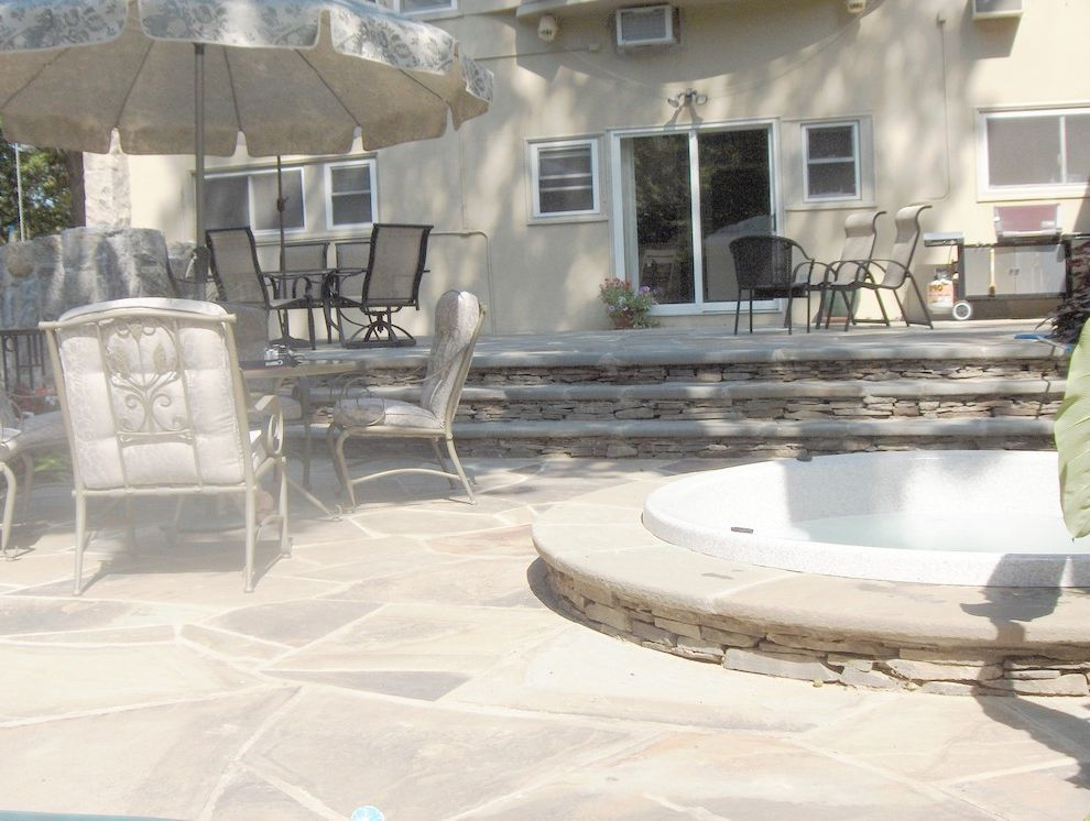 Briarcliff Spa   Eclectic Pool  and Landscape Patio Spa Steps Walls