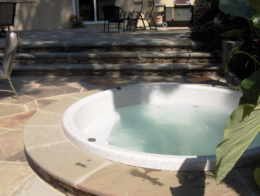 Briarcliff Spa   Traditional Pool  and Landscape Patio Spa Steps Walls