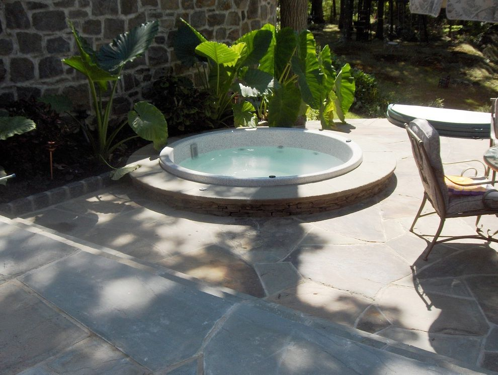 Briarcliff Spa with Eclectic Pool  and Landscape Patio Spa Steps Walls