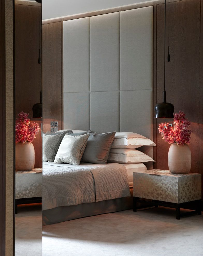 Broadstone Hyde Park   Contemporary Bedroom  and Apartment Flowers Grey Bed Hyde Park Luxury Bedroom Mirror Pendant Light Side Table Upholstered Wall