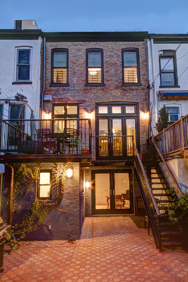 Brownstone Properties with Traditional Exterior Also Back Garden Balcony Black Patio Door Frame Black Window Frames Brick Brick House Brick Patio Patio Door Steps Terra Cotta Terraced House Urban Veranda