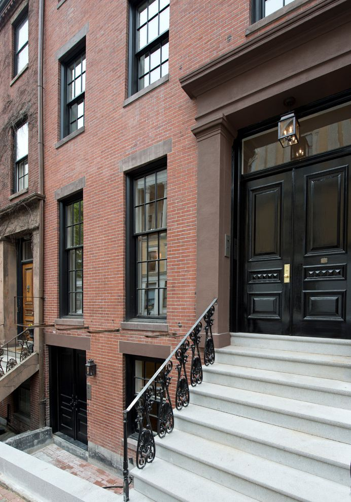 Brownstone Properties with Traditional Exterior Also Beacon Hill Black Front Door Boston Brick Exterior Brick Siding Brownstone City Townhouse Clean Gut Header Mansion Pendant Light Rehab Remodel Traditional Transom Window Trasitional