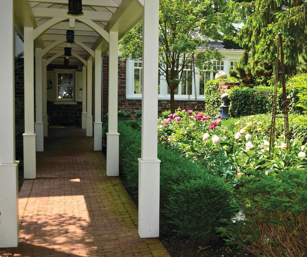 Bucks Country Gardens With Traditional Landscape And Brick Walkway Country  Farmhouse Covered Walkway Garden Landscape Design