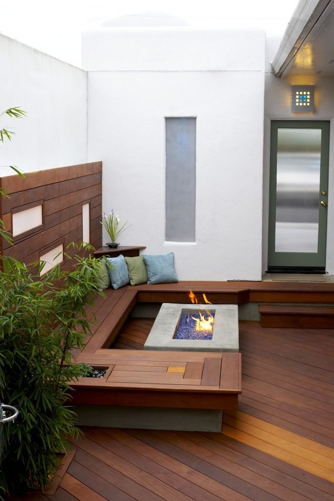 Build a Propane Fire Pit with Modern Deck and Bamboo Breezeway Built Ins Corten Deck Decorative Pillow Entrance Entry Fire Pit Glass Doors Ipe Outdoor Lighting Porch Throw Pillow Wall Lighting Wood Bench