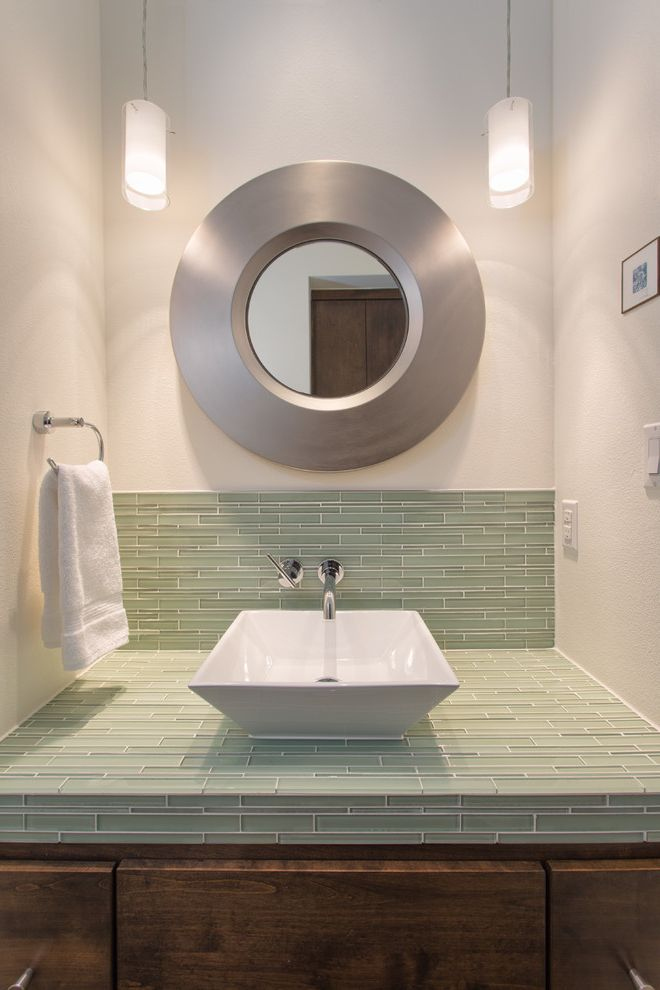 Builders Source El Paso   Contemporary Bathroom Also Framed Round Mirror Light Green Matchstick Tile Pendant Lights Towel Ring Wall Mount Faucet