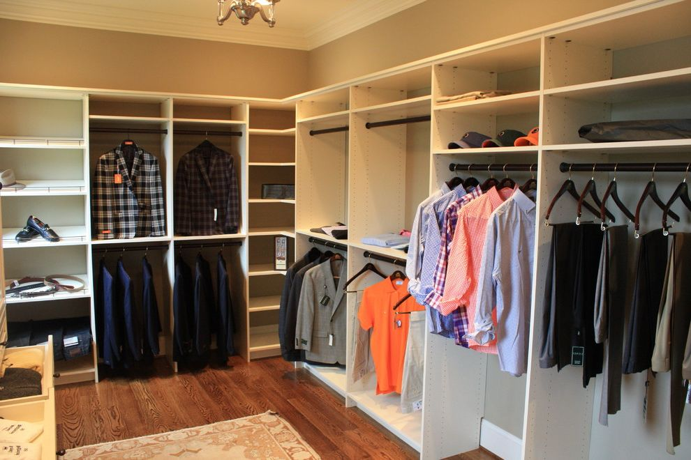 Building Shelves in Closet with Traditional Closet Also Chandelier Custom Double Hang Rods Hangers Open Back Closets Shelves Shoe Storage Walk in White Closet Wood Floor