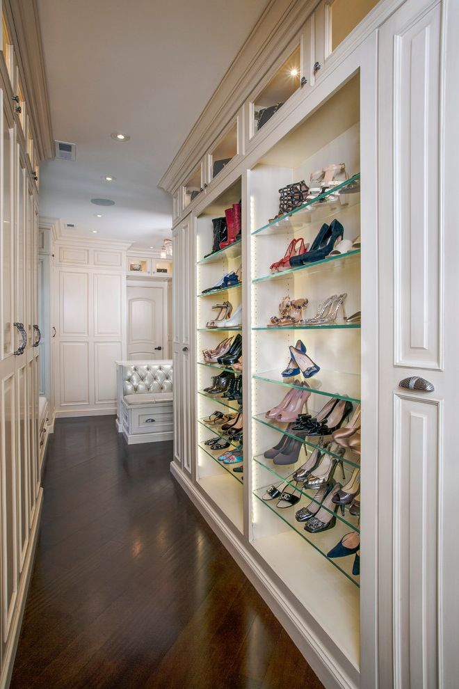 Building Shelves in Closet with Traditional Closet  and Clerestory Cabinets Custom Built Ins Glass Shelves Master Bedroom Open Shelves Recessed Lighting
