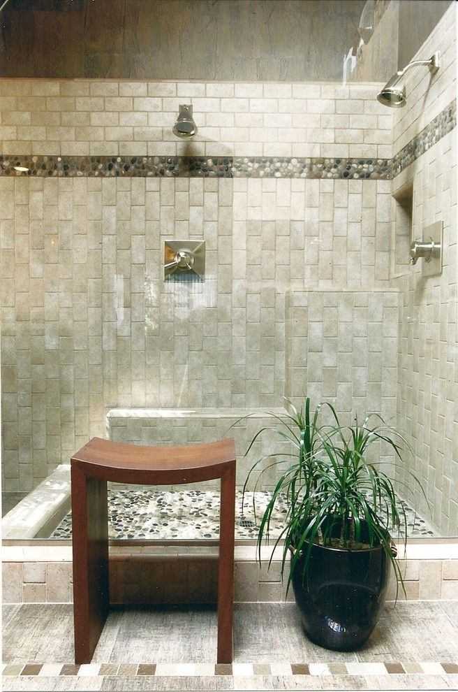 Burns Pest Elimination with Contemporary Bathroom  and Beige Stone Shower Beige Stone Shower Bench Beige Stone Wall Beige Tile Floor Double Shower Head Potted Plant River Rock Shower Floor Shower Bench Shower Seat Walk in Shower Wood Stool