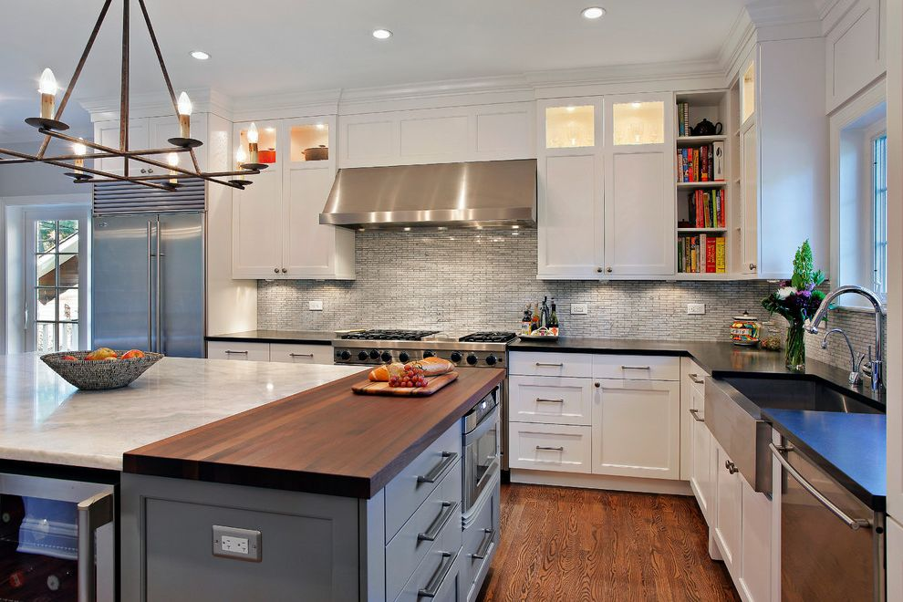 Butcher Block Island on Wheels   Contemporary Kitchen  and Apron Sink Backsplash Butcher Block Counter Top Island Kitchen Appliances Kitchen Cabinets Modern Chandelier Open Shelves White Cabinets Wood Floors