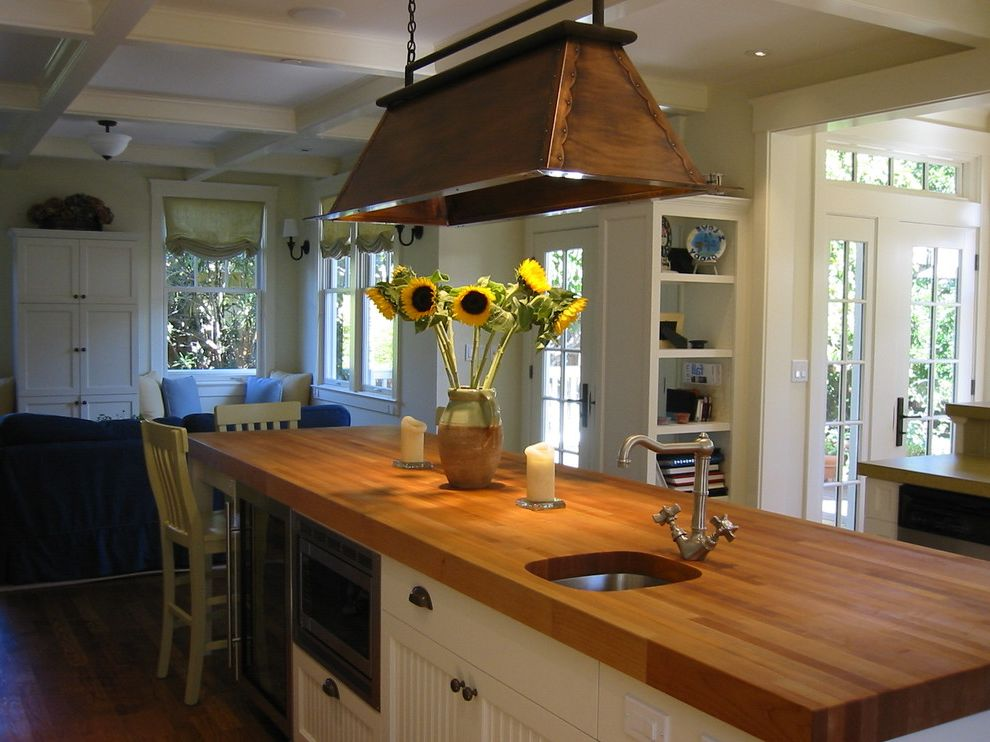 Butcher Block Island on Wheels with Contemporary Kitchen Also Bead Board Beverage Cooler Butcher Block Coffered Ceiling Copper Dood Counter Seats Roman Shade Transom Window Wainscot Window Treatment