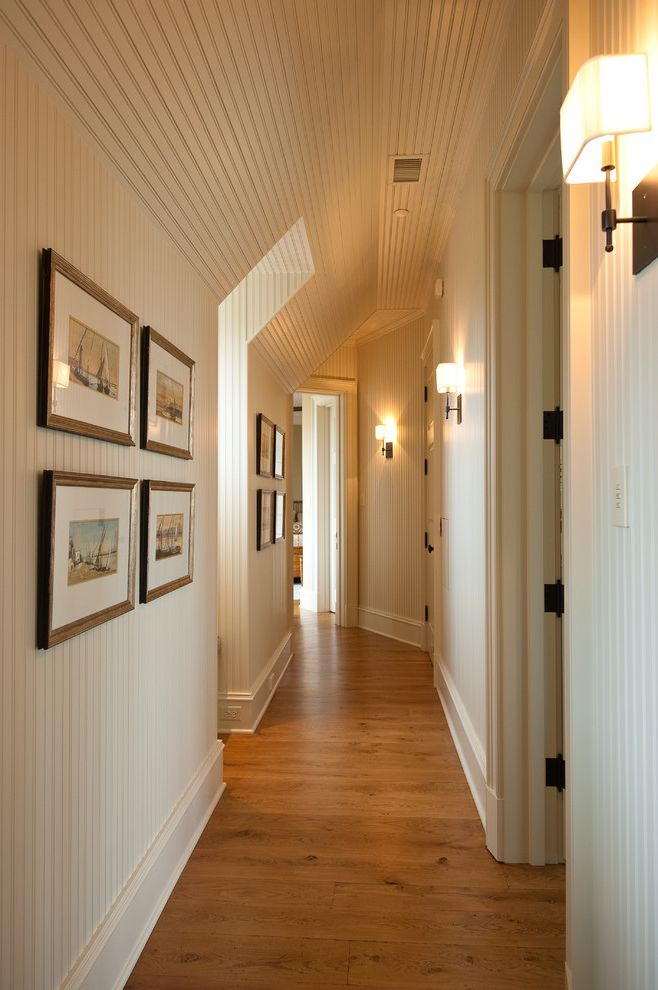 Cabin Wall Sconces   Traditional Hall Also Hallway Wall Sconce White Ceiling White Walls White Wood Panels White Wood Slats Wood Floor